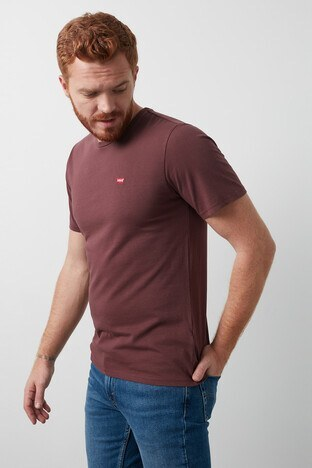 Levis Bisiklet Yaka % 100 Pamuk Erkek T Shirt 56605-0080 BORDO