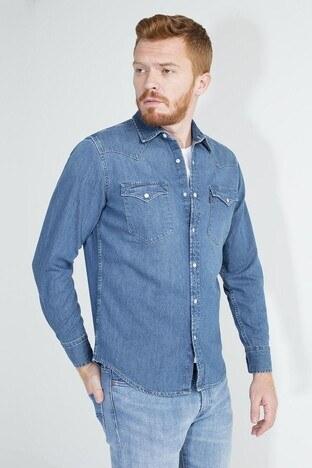 Levis Cepli Uzun Kollu % 100 Pamuklu Erkek Kot Gömlek 85745-0001 MAVİ