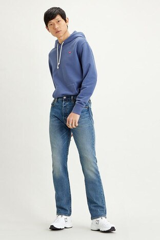 Levi's - Levis Düz Paça Pamuklu 501 Jeans Erkek Kot Pantolon 00501-3058 MAVİ