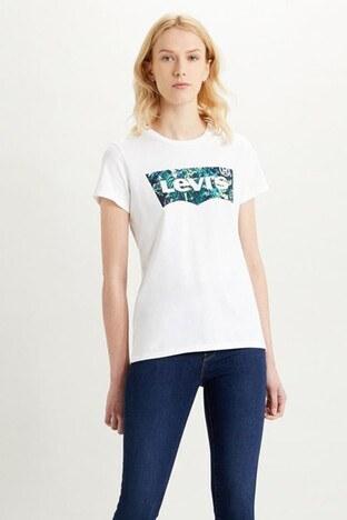 Levis Logo Baskılı Bisiklet Yaka % 100 Pamuk Bayan T Shirt 17369-1043 BEYAZ