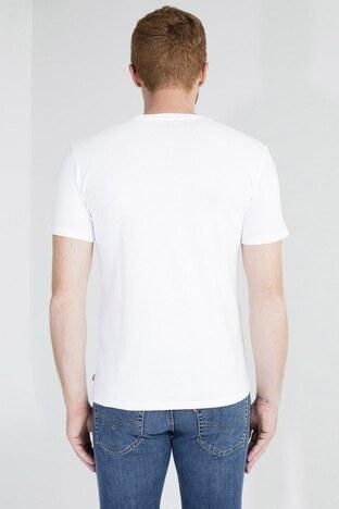 Levis Logo Baskılı Bisiklet Yaka % 100 Pamuklu Erkek T Shirt 17783-0140 BEYAZ