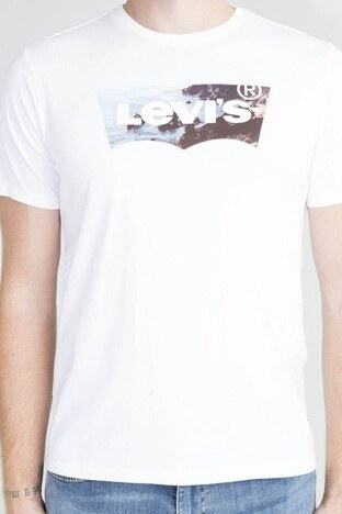 Levis Logo Baskılı Bisiklet Yaka % 100 Pamuklu Erkek T Shirt 224890284 BEYAZ