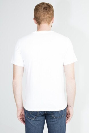 Levis Logo Baskılı Bisiklet Yaka % 100 Pamuklu Erkek T Shirt 85785-0000 BEYAZ