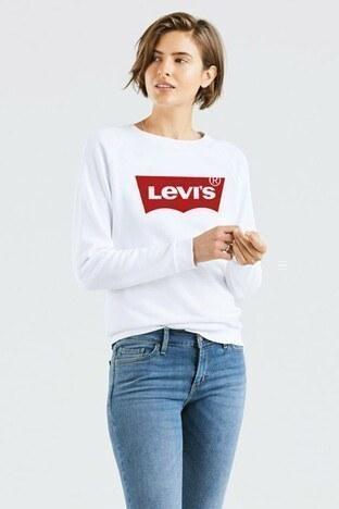 Levis Logo Baskılı Bisiklet Yaka Örme Bayan Sweat 29717-0063 BEYAZ