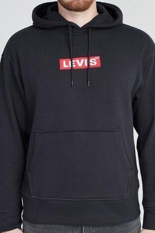Levis Logo Baskılı Kapüşonlu Kanguru Cepli Erkek Sweat 72632-0023 SİYAH