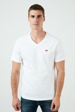 Levi's - Levis Marka Logolu V Yaka % 100 Pamuk Erkek T Shirt 85641-0000 BEYAZ