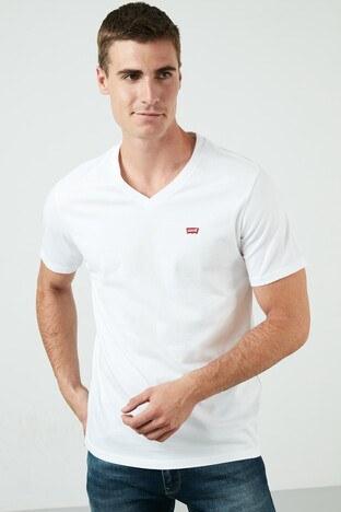 Levis Marka Logolu V Yaka % 100 Pamuk Erkek T Shirt 85641-0000 BEYAZ