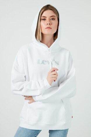Levi's - Levis Oversize Kapüşonlu Kanguru Cepli % 100 Pamuk Bayan Sweat 34400-0011 BEYAZ