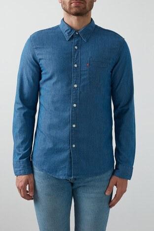 Levis Pamuklu Cepli Slim Fit Erkek Gömlek 86619-0032 KOYU MAVİ