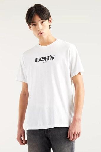 Levis Rahat Kesim Baskılı Bisiklet Yaka % 100 Pamuk Erkek T Shirt 161430083 BEYAZ
