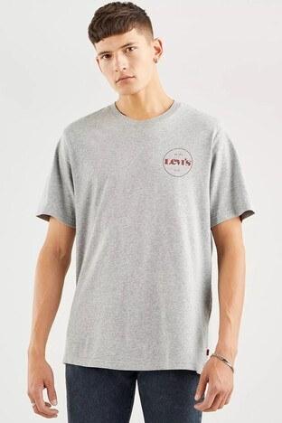 Levi's - Levis Rahat Kesim Baskılı Bisiklet Yaka % 100 Pamuk Erkek T Shirt 161430111 GRİ