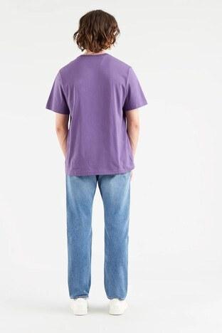 Levis Rahat Kesim Baskılı Bisiklet Yaka % 100 Pamuk Erkek T Shirt 161430120 MOR