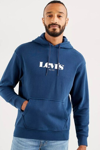 Levis Rahat Kesim Baskılı Kapüşonlu Kanguru Cepli % 100 Pamuk Erkek Sweat 38479-0026 LACİVERT
