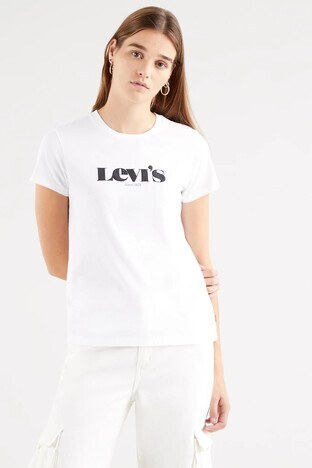 Levi's - Levis Regular Fit Baskılı Bisiklet Yaka % 100 Pamuk Bayan T Shirt 173691249 BEYAZ