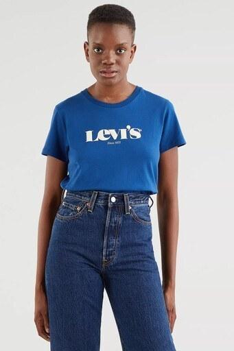 Levis Regular Fit Baskılı Bisiklet Yaka % 100 Pamuk Bayan T Shirt 173691493 LACİVERT