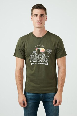 Levi's - Levis Regular Fit Baskılı Bisiklet Yaka % 100 Pamuk Erkek T Shirt 22491-0956 KOYU HAKİ