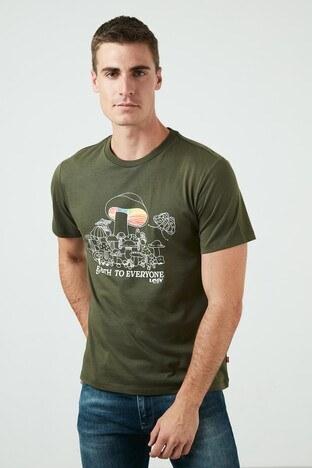 Levis Regular Fit Baskılı Bisiklet Yaka % 100 Pamuk Erkek T Shirt 22491-0956 KOYU HAKİ