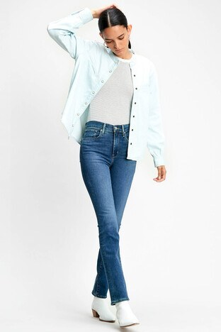 Levis Yüksek Bel Boru Paça 724 Jeans Bayan Kot Pantolon 188830075 MAVİ