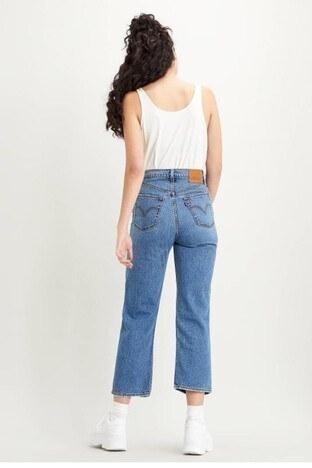 Levis Yüksek Bel Pamuklu Ribcage Jeans Bayan Kot Pantolon 72693-0056 MAVİ