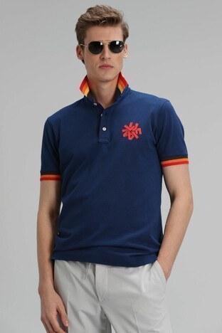 Lufian - Lufian % 100 Pamuk Düğmeli Polo Erkek T Shirt 111040066 AÇIK LACİVERT