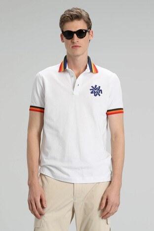 Lufian - Lufian % 100 Pamuk Düğmeli Polo Erkek T Shirt 111040066 BEYAZ