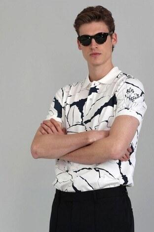 Lufian - Lufian % 100 Pamuk Düğmeli T Shirt Erkek Polo 111040067 KIRIK BEYAZ