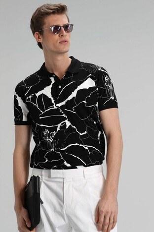Lufian - Lufian % 100 Pamuk Düğmeli T Shirt Erkek Polo 111040067 SİYAH