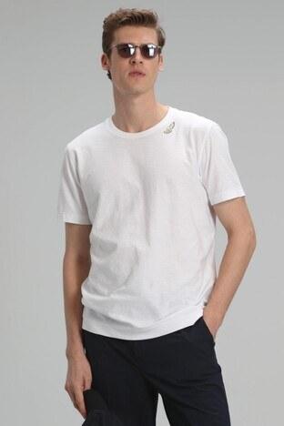 Lufian - Lufian Baskılı Bisiklet Yaka % 100 Pamuk Erkek T Shirt 111020097 BEYAZ