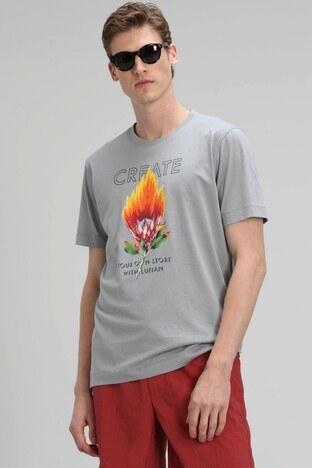 Lufian - Lufian Baskılı Bisiklet Yaka % 100 Pamuk Erkek T Shirt 111020108 GRİ