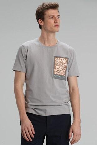 Lufian - Lufian Baskılı Bisiklet Yaka Pamuklu Erkek T Shirt 111020100 GRİ