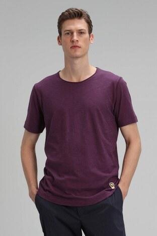 Lufian - Lufian Bisiklet Yaka % 100 Pamuk Erkek T Shirt 111020084 MÜRDÜM