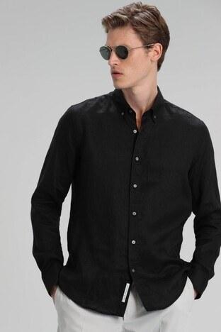 Lufian - Lufian Comfort Fit Düğmeli Yaka % 100 Keten Erkek Gömlek 111010373 SİYAH