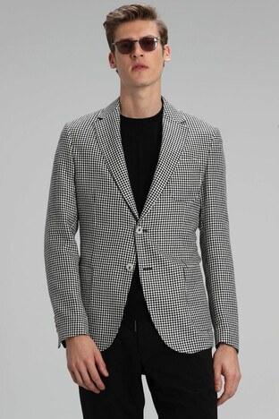 Lufian - Lufian Kazayağı Desenli Slim Fit Blazer Erkek Ceket 111140103 SİYAH