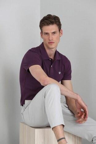Lufian - Lufian Laon % 100 Pamuklu T Shirt Erkek Polo 111040055 BORDO