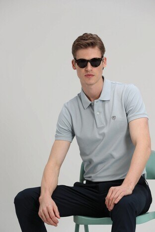 Lufian - Lufian Laon % 100 Pamuklu T Shirt Erkek Polo 111040055 Nane Yeşil