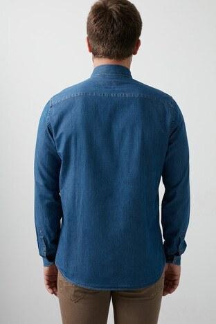 Lufian Tola Pamuklu Slim Fit Erkek Gömlek 112010388 İNDİGO