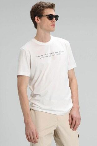 Lufian - Lufian Yazı Baskılı Bisiklet Yaka % 100 Pamuk T Sh Erkek T Shirt 111020101 KIRIK BEYAZ