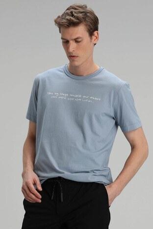 Lufian - Lufian Yazı Baskılı Bisiklet Yaka % 100 Pamuk T Sh Erkek T Shirt 111020101 MAVİ