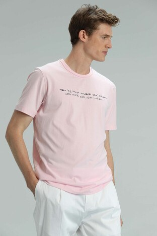 Lufian - Lufian Yazı Baskılı Bisiklet Yaka % 100 Pamuk T Sh Erkek T Shirt 111020101 PEMBE
