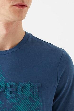 Mavi % 100 Pamuk Baskılı Bisiklet Yaka Erkek T Shirt 066592-33419 MAVİ