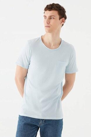 Mavi - Mavi % 100 Pamuk Bisiklet Yaka Slim Fit Erkek T Shirt 062772-34021 AÇIK MAVİ