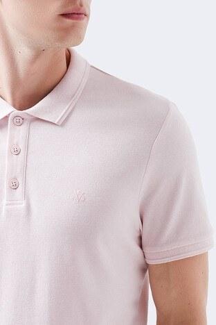 Mavi % 100 Pamuk Düğmeli T Shirt Erkek Polo 064946-31384 PEMBE
