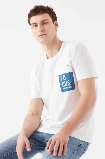 Mavi Erkek T Shirt 066785-620 BEYAZ