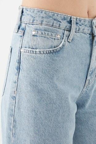 Mavi % 100 Pamuk Yüksek Bel Geniş Paça Bodrum Jeans Bayan Kot Pantolon 101046-33866 AÇIK MAVİ