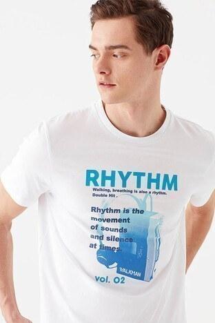 Mavi % 100 Pamuklu Baskılı Bisiklet Yaka Erkek T Shirt 066538-620 BEYAZ