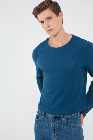 Mavi - Mavi % 100 Pamuklu Bisiklet Yaka Uzun Kollu Erkek T Shirt 065755-34317 LACİVERT