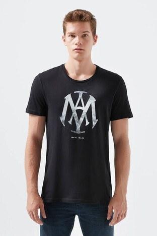 Mavi % 100 Pamuklu Mühür Logo Baskılı Bisiklet Yaka Erkek T Shirt 065641-900 SİYAH