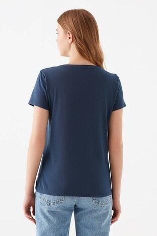 Mavi Baskılı Bisiklet Yaka % 100 Pamuk Bayan T Shirt 1600534-33513 LACİVERT