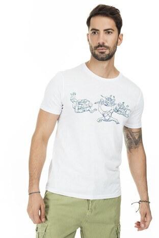 Mavi Baskılı Bisiklet Yaka Erkek T Shirt 066125-620 BEYAZ
