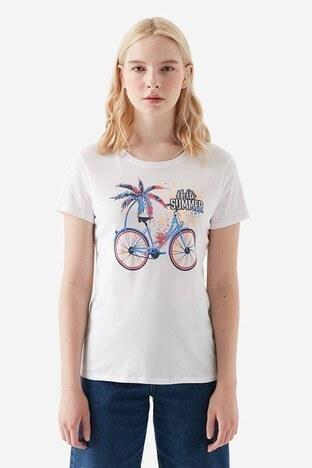 Mavi Baskılı Bisiklet Yaka Kadın T Shirt 168729-620 BEYAZ